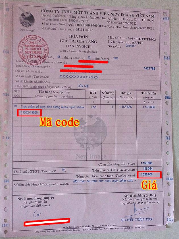 Hóa đơn giá trị tăng của công ty New Image Việt Nam